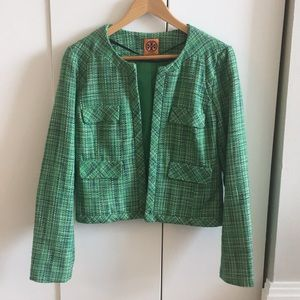 Tory Burch green tweed blazer